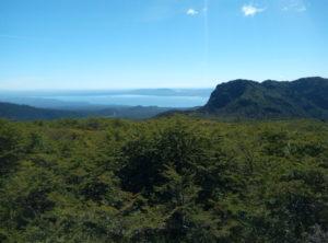 Vista sobre el Lago villarrica desde el sendero de los Cráteres parásitos