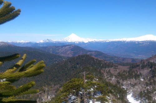 Vista sobre volcanes, montañas y araucarías